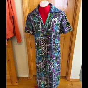 VINTAGE 60's-70's groovy button front dress
