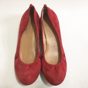 J. Crew Factory Shoes - J. Crew Anya red suede ballet flats