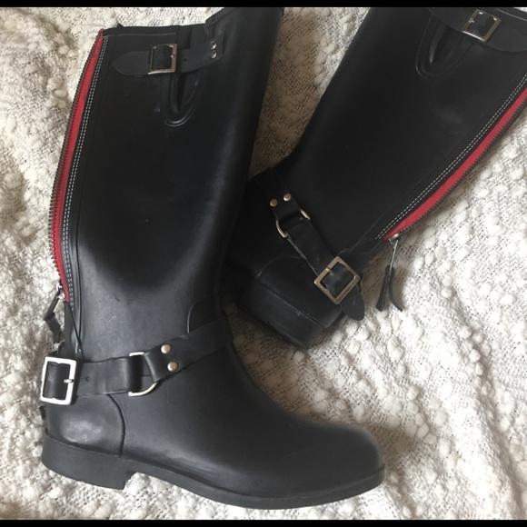 Regulación Privación Gigante  Steve Madden Shoes | Rain Boots With Red Zipper On Back | Poshmark