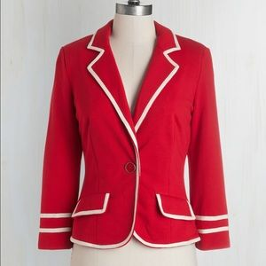 Modcloth Academia Ahoy Blazer in red