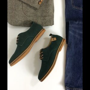 SoFitly Other - Men's Green Suede Leather Oxford Lace Up Shoes