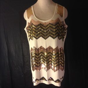 Eloquii Tops - NEW Sleeveless Top with chevron sequins in front