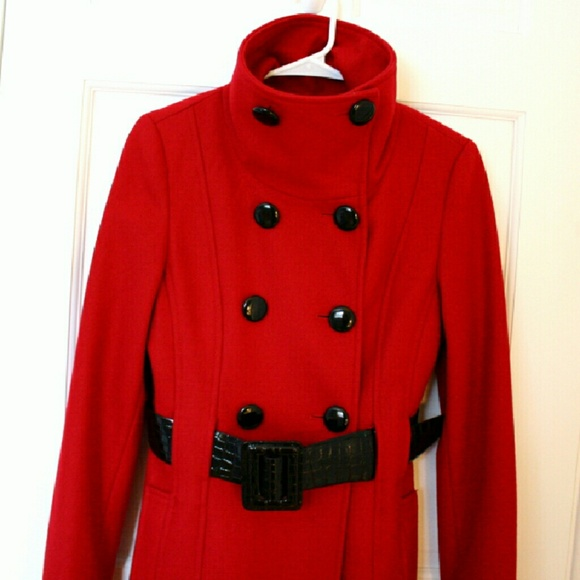 92% off Guess Jackets & Blazers - Guess Long Red Coat with Black ...