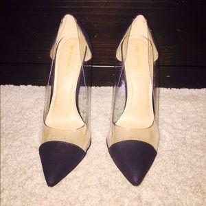 Pointed toe clear stilettos