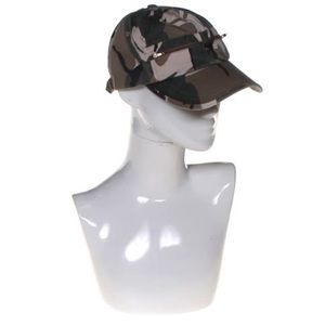 Army print hat with zippers