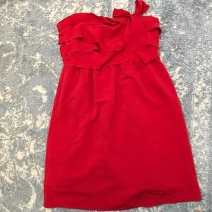 Paul & Joe Dresses & Skirts - Paul & Joe Red Strapless Tiered Mini Dress