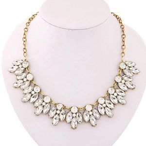 Gorgeous collar rhinestone bling necklace gold new