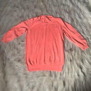 J. Crew Factory Sweaters - J. Crew neon orange cotton sweater