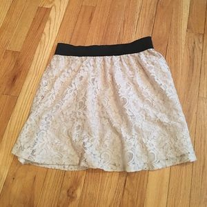 High waisted lace floral skirt