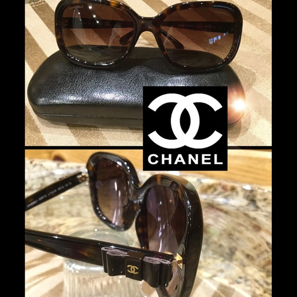 bb4e9c6d9fba2 CHANEL Accessories - Chanel 5280 Havana Brown   Bow Ties Sunnies  6559