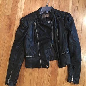 Jackets & Blazers - Black Moto style short fake leather jacket
