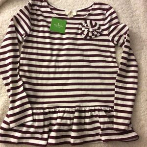 NWT Kate Spade Girls Striped Rosette Top Sz 10Y