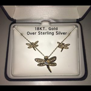 Jewelry - Matching dragonfly earring and necklace set
