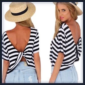 Tops - NWT striped twisted open back crop top