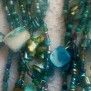 Jewelry - Abalone Shell Sea Glass Beads Necklace