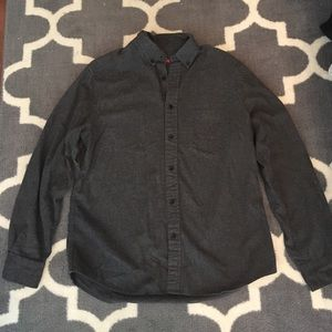 Men's Solid gray flannel button up