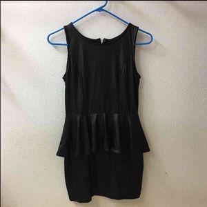 Faux Leather Peplum Dress