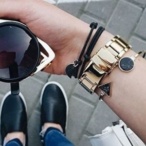 Minimalist Black Marble Gold Cuff Bangle Bracelet