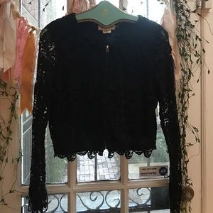 Black Lace Anthro Jacket NWOT