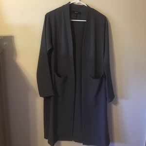 Long dark grey duster coat