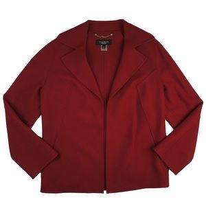 Talbots Jackets & Blazers - TALBOTS Red Double Faced Wool Open Front Jacket
