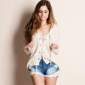 1DAYSALE Lace Up Sweater Top (cream)