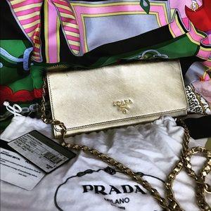 Prada Handbags - 🍭HP🍭Prada Metallic saffiano gold WOC on chain