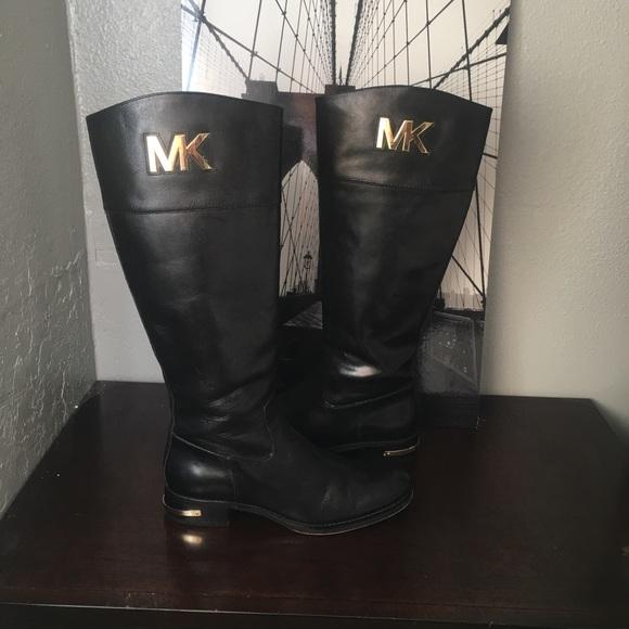 7d9c2c2db6aa Hayley Black Leather Tall Riding Signature Mk Logo.  M_5891133a2599fe7b9b0017a4