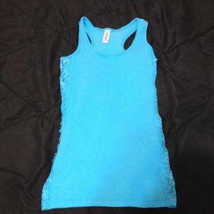 Tops - Blue lace side tank