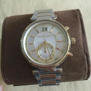 NWT Michael Kors Women's Sawyer two-tone watch.