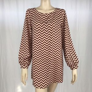 Everly Dresses & Skirts - Everly Chevron Burgundy and Tan Dress