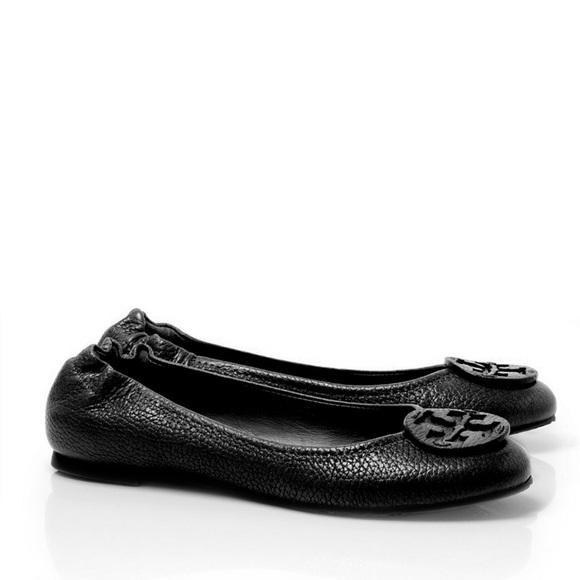 Tory Burch Reva Flat - Black Tumbled Leather