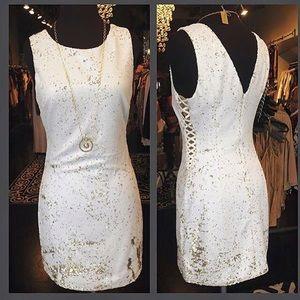 Ark & Co Dresses & Skirts - Ark & Co White/gold sequin dress