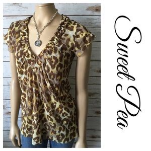 Sweet Pea Tops - Sweet Pea Nylon Mesh V Neck Yellow Brown Cheetah