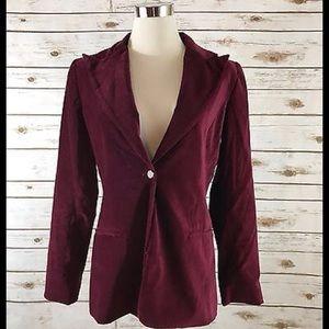 Tahari Jackets & Blazers - Tahari Crushed Velvet Blazer Jacket WINE Size 8