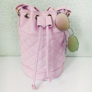 Handbags - Final Sale✨Ellison Pink Quilted Vegan Bucket Bag