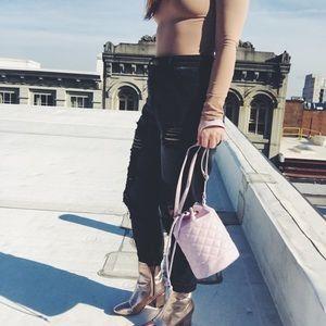 Handbags - New! Pink Quilted Vegan Leather Bucket Bag