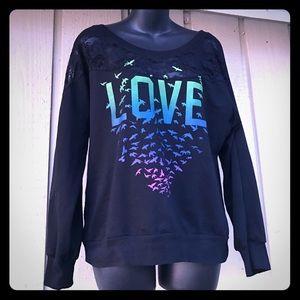 "Stranded Tops - sale ❤️ ""Love"" graphic bird sweatshirt L"