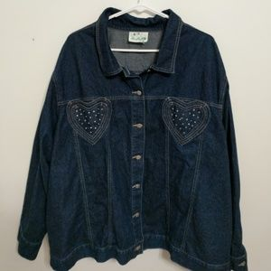 Quacker Factory Denim - Jean jacket with hearts and bling