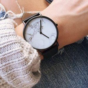 Minimalist Marble Black Leather Strap Watch