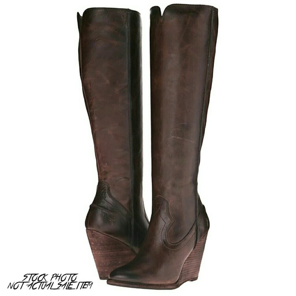 811384f7779 NWT Frye Cece Seam Tall Wedge Brown Leather Boot