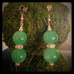 Earrings-Jade Glass and Crystal on silver.