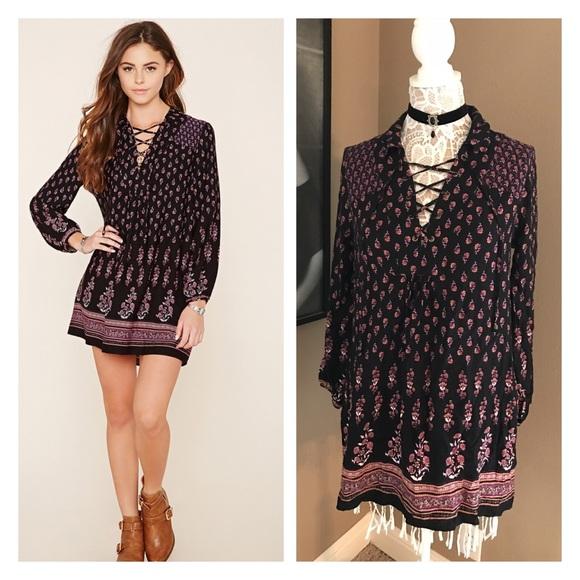 ea01a0ab6c Forever 21 Dresses | Lace Up Floral Dress | Poshmark
