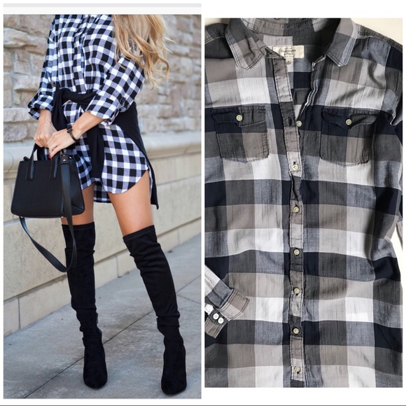 Abercrombie   Fitch Tops - Abercrombie   Fitch Plaid Button Shirt Dress 8bf55b9c0