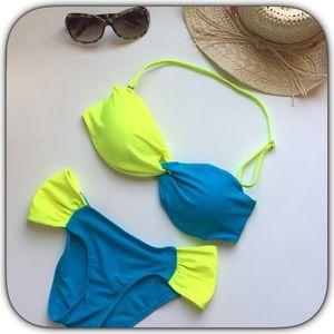 Boutique Other - NWOT Flirty Fun Royal Blue & Lime Bikini