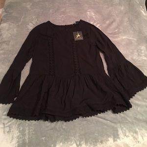 primark Tops - Black bell sleeve crochet shirt