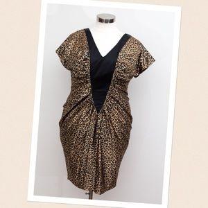 Monif C. -  Body Con Cheetah Dress W/ V-Neck