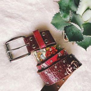 Ed Hardy Accessories - Ed Hardy // distressed plum knife & rose belt