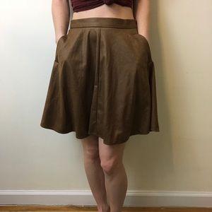 Anthropologie Dresses & Skirts - Matison Stone Anthro Tan Pleated Skated Skirt