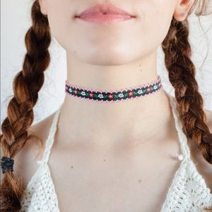Embroidered Festival Floral Choker